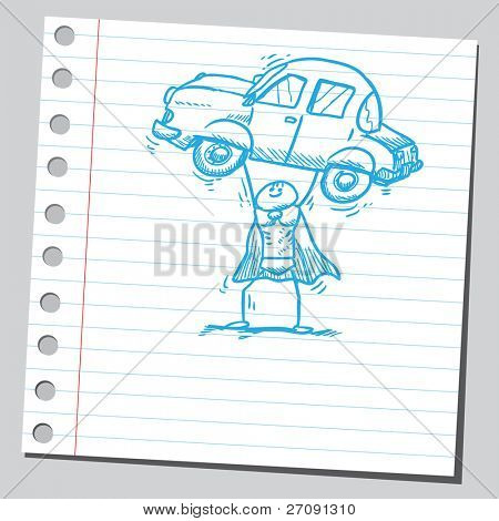 Sketch style vector illustration of a superhero holding a car