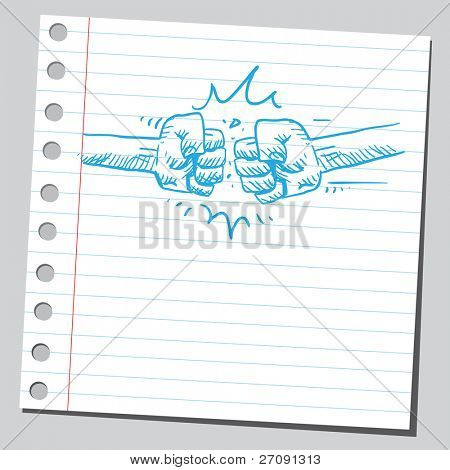 Sketch style vector illustration of a fists striking