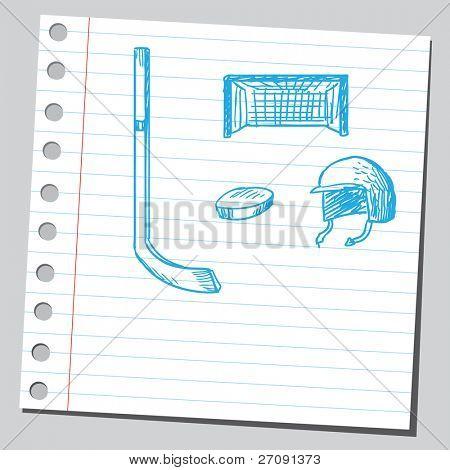 Sketch style vector illustration of an ice hockey symbols