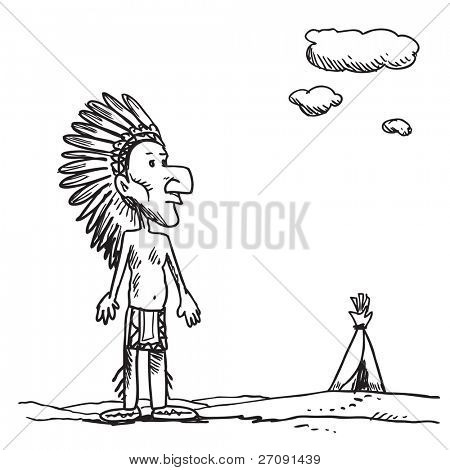 Sketch style illustration of an American Indian chief