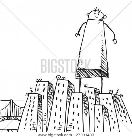 Sketch style illustration of a giant man standing in the middle of a city