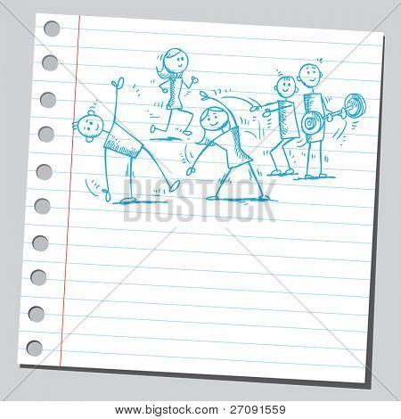 Skizze Stil Abbildung eines Volkes Ausübung