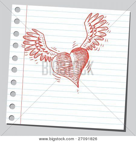 Sketchy illustration of a flying heart