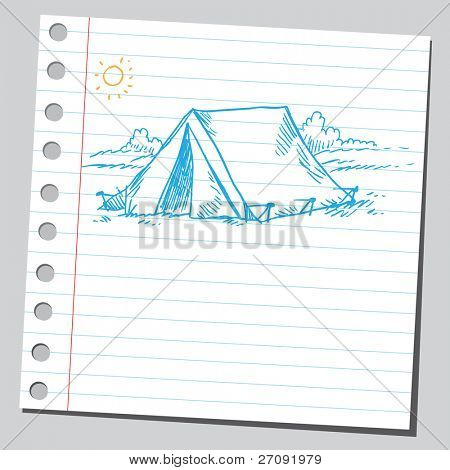Sketchy illustration of a tourist tent