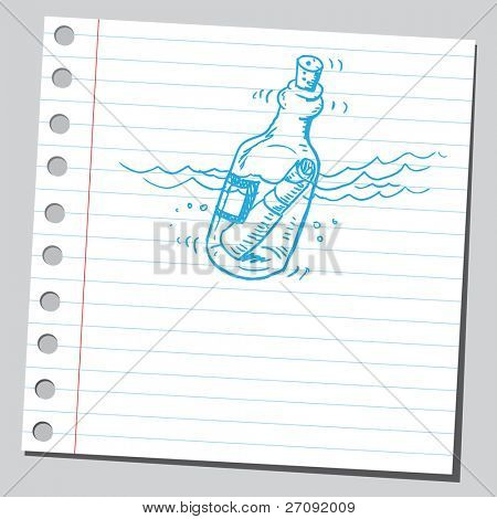Sketchy illustration of a message in a bottle