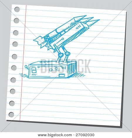 Sketchy illustration of a missile launcher