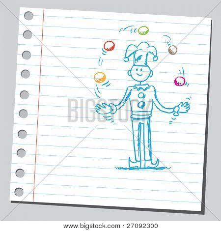 Sketchy illustration of a juggler