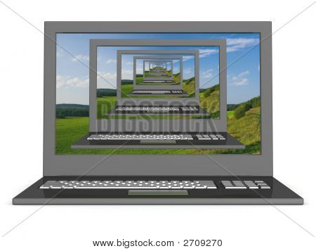 Recursive 3D Image Of Laptops With A Landscape On The Screen.