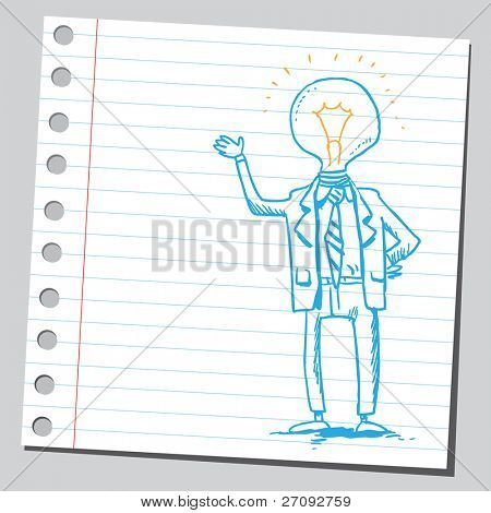 Sketchy illustration of a bizarre lightbulb man