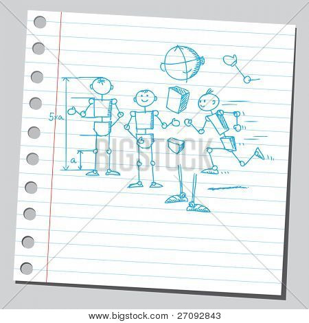 "Sketchy illustration of a ""stick figure man"" proportion"