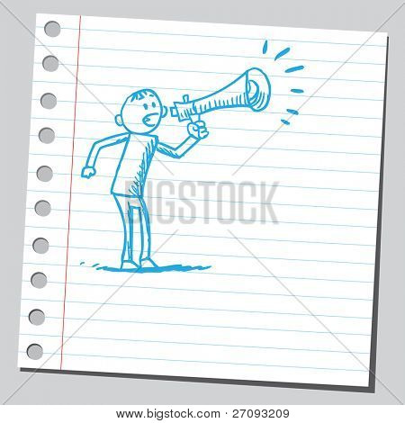 Sketch of a man yelling in to megaphone