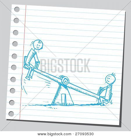 Drawing of a kids on teeter