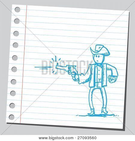 Drawing of a gunman shooting
