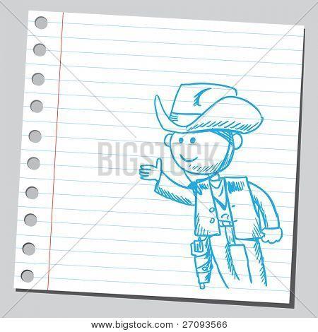 Drawing of a funny gunman