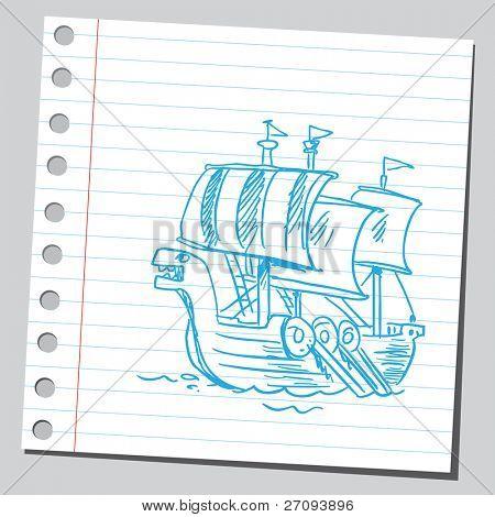 Sketchy illustration of a viking boat