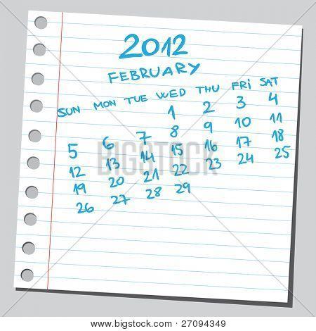 Sketchy 2012 calendar (february)