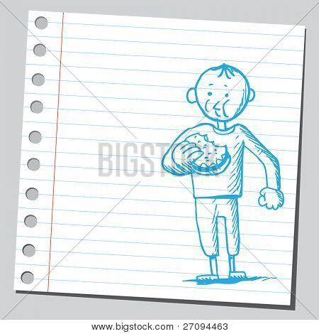 Illustration of a boy eating hamburger