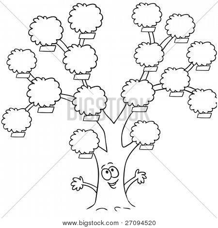 Line art drawing of a funny family tree