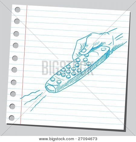 Divertido sketch de un control remoto de la explotación de mano