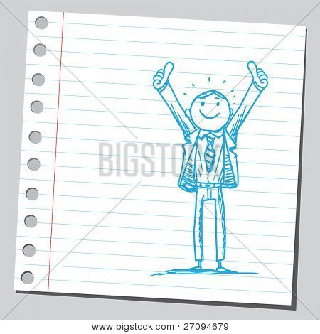 Funny sketch of a businessman rising his thumbs up