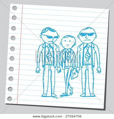 Funny sketch of a two bodyguards keeping a businessman