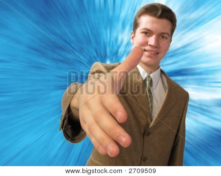 Businessman Welcomes  Hand