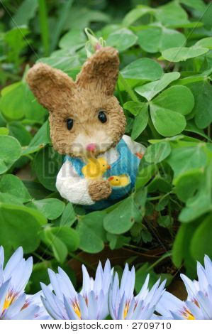 Easter Rabbit In Clover Patch