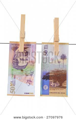 Colombian money. Isolated