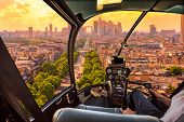 Helicopter Cockpit Flying On Charles De Gaulle Square In Paris, French Capital, Europe. Scenic Fligh poster