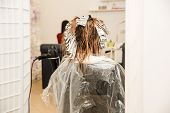 Professional Hair Stylist Cutting Hair Of Female Client. Master Stylist Applying Hair Color And High poster
