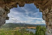 Beautiful Lake Piediluco View And The Ancient Town Labro On The Hill From The Window Of An Old Ruine poster