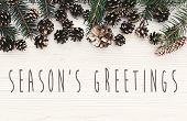 Seasons Greetings Text On Modern Christmas Flat Lay With Green Fir Branches, Golden Pine Cones And  poster