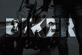 Collage Male Biker Walking Away From Motorcycle. Brutal Male Biker Standing In Front Of Motorbike Wi poster