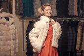 Woman In Fur Coat, Shopaholic. Shopping, Seller, Fashion Model, Customer. Sensual Woman In Fur, Luxu poster