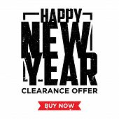 Happy New Year Element Design Banner And Label Sticker Sale Offer Advertising. Vintage Letter Happy  poster
