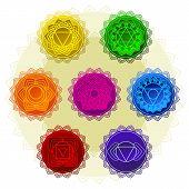 Vector Silhouette Of A Man With A Yoga Symbols. Yoga Vector Design. 7 Chakra Mandalas. Sahasrara, An poster
