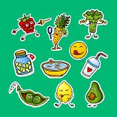 Fashion Patch Badges With Carrot, Vegetables, Peas, Avocado, Lemon, Greenery And Other. Large Set Of poster