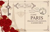 Retro Postcard With Eiffel Tower In Paris, France. Vector Postcard In Vintage Style With Red Roses,  poster