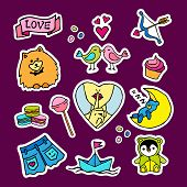 Fashion Patch Badges With Birds, Cupcakes, Sweets, Bear, Jeans, Shorts And Other. Large Set Of Girli poster