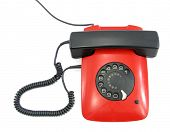 stock photo of xx  - Telephone flat red and black lovely phone with fingerwheel - JPG