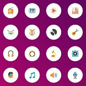 Audio Icons Flat Style Set With Fm, Begin, Earpiece And Other Pianoforte Elements. Isolated Vector I poster