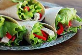 Classic Tortilla Wrap With Grilled Chicken And Vegetables poster