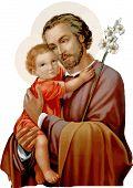 Saint Joseph Baby Jesus Faith Christ Religion Illustration poster