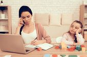 Mother Work On Laptop. Educational Games. Learning Child At Home. Child Development. Board Games For poster