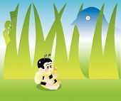 stock photo of baby spider  - vector illustration for a baby bee eating a sweet and behind are danger waiting for him - JPG