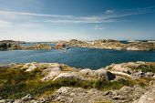Sea Landscape Of A Rocky Coastline And A Small Town On The South Of Sweden. Southern Coastline Of Sw poster