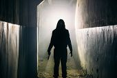 Silhouette Of Man Maniac Or Killer Or Horror Murderer With Knife In Hand In Dark Creepy And Spooky C poster