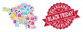 Black Friday Combination Of Mosaic Map Of Saarland State And Scratched Stamp. Vector Red Seal With S poster
