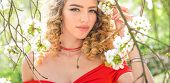 Summer Girl And Sensual Moment. Beauty Woman Outdoors In Blooming Trees. Beauty Model In Flowers. Sp poster