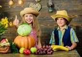 Celebrate Harvest Holiday. Children Play Vegetables Wooden Background. Kids Girl Boy Wear Hat Celebr poster